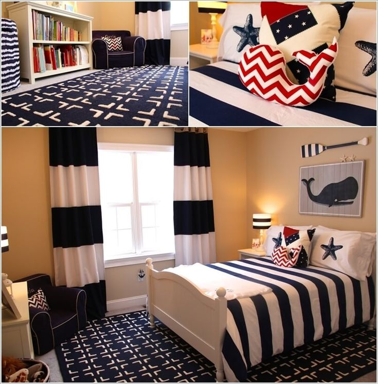 Create A Mix Of Sailor Blue/Red And White Nautical Prints In The Form Of Curtains, Bedspread