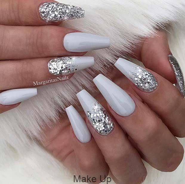 Gray And Silver Glitter Sarong Nails Coffin Glitter Gray Nails Silver Nail Design Ideas Ombre Nails Glitter Silver Nails Nail Art Hacks