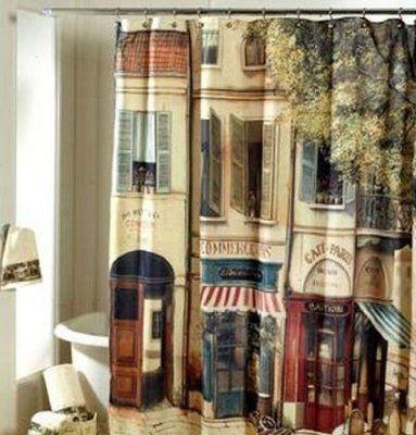 MALO Polyester Coffee Shop Cafe Traditional Classic Building Design Bathroom Baths Bathing Shower Curtain 185*185CM
