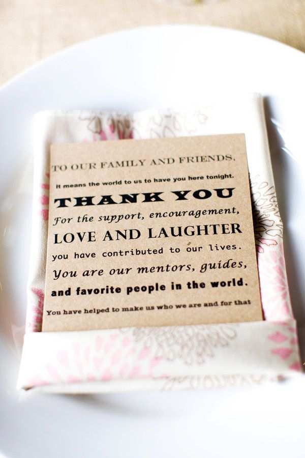 thank you cardFavors, Wedding Receptions, Tables Sets, Friends, Cute Ideas, Menu Cards, Pictures, Tables Numbers, Tables Places Sets