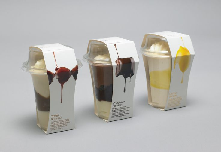 lovely packaging for dessertsNice Packaging, Riviera Desserts, Packaging Design, Packaging Inspiration, Ice Cream, Waitrose Sundaes, Desserts Packaging, Creative Packaging, Waitro Sundaes