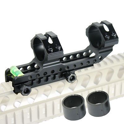 """PEPR Cantilever 1"""" 30mm Dual Scope Ring Mount w Bubble Level for Picatinny Rails"""