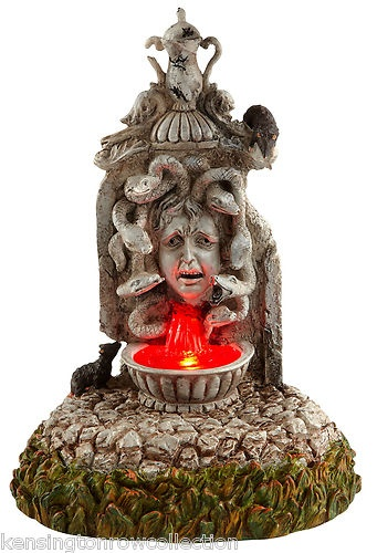 cursed fountain dept 56 halloween village lighted collectible