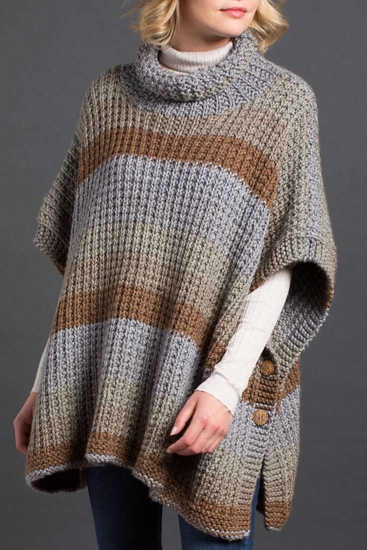 Free Knitting Pattern for 2 Row Repeat Cozy Up Poncho - Rectangular poncho with buttoned sides is knit in a 2 row repeat broken rib stitch. Quick knit in super bulky yarn.