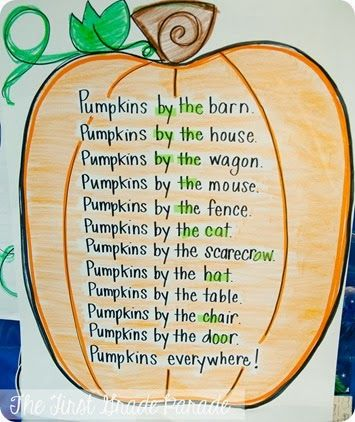 "Pumpkins EVERYWHERE!  And Making Connections- I am LOVING this pumpkin poem with the sight words ""by"" and ""the""!"