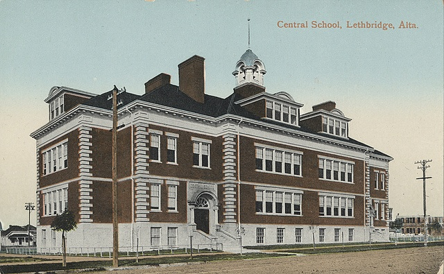 Central School, Lethbridge, Alberta, c.1910-1960. #vintage #schools #Canada #Edwardian #buildings