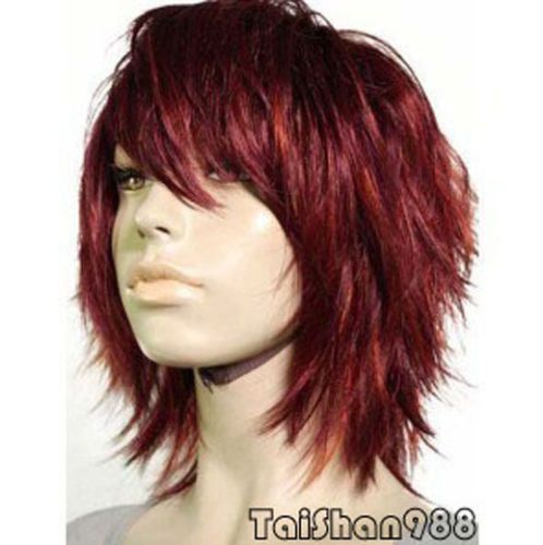Hot-Sell-New-Fashion-Short-Dark-Red-Womens-Ladys-Hair-Wig-Wigs-Cap