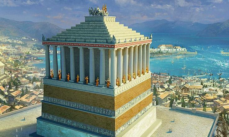 El Mausoleo de Halicarnasodel 370 y el 351 a.C. por la reina Artemisa, afligida por la muerte de su esposo el rey Mausolus de Caria. Se levantó sobre una meseta de mármol, tenía 50 metros de altura y estaba rodeada por 36 columnas. Encontrado durante excavaciones en 1522, se ordenó su destrucción por la autoridades islámicas de la época (Islam prohíbe la representación de figuras humanas en el arte)