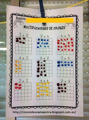 Rincón de una maestra: Multiplicaciones de colores