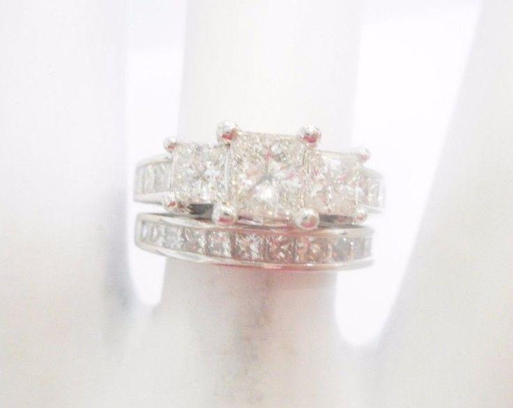 14k White Gold 2 TCW Princess Cut Diamond Engagement Ring Wedding Set #2554