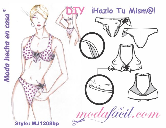 Descarga gratis los patrones del traje de Baño Bikini disponible en 7 tallas listas para poner sobre la tela y cortar