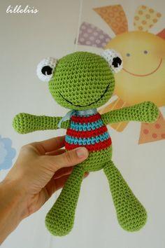 Felix la Rana Amigurumi - Patrón Gratis en Español aquí: http://lilleliis.com/free-patterns/felix-frog-pattern-in-spanish/  English Pattern here: http://lilleliis.com/free-patterns/felix-the-frog-free-pattern/