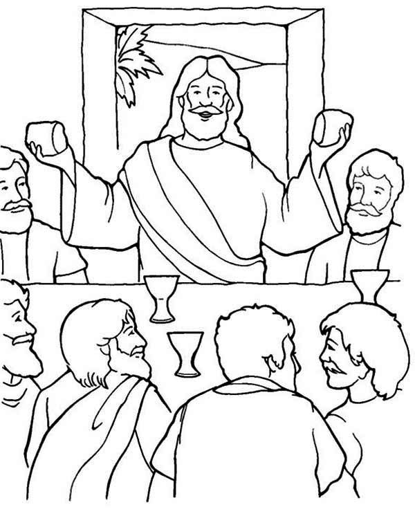 Last Supper, Jesus in the Last Supper Coloring Page: Jesus In The Last Supper Coloring PageFull Size Image