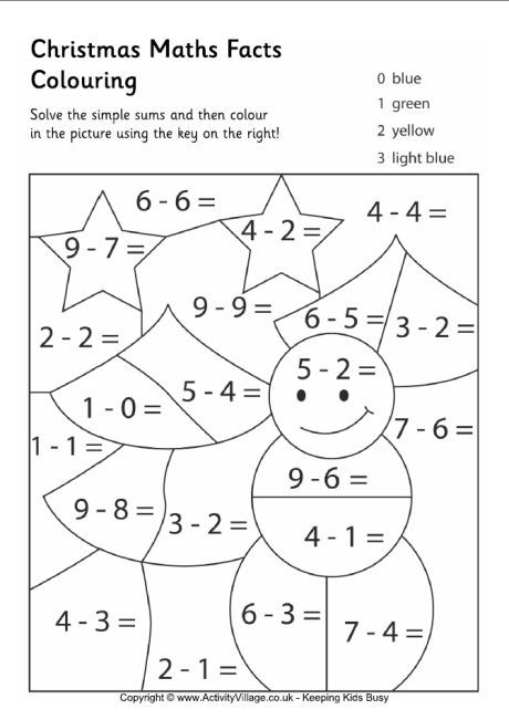 christmas maths facts colouring page 2 - Coloring Pages Addition Facts