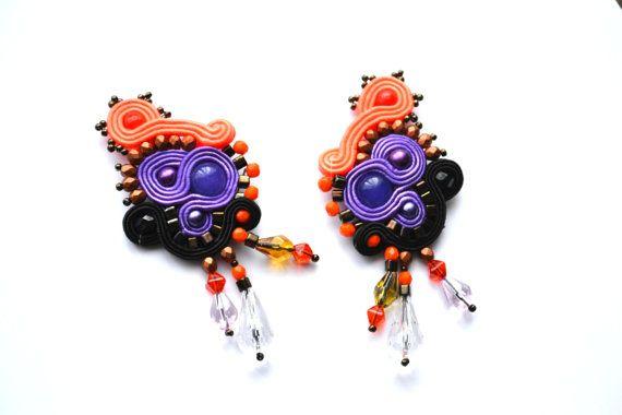 Soutache purple and orange earrings with Jades by StylazkaSoutache