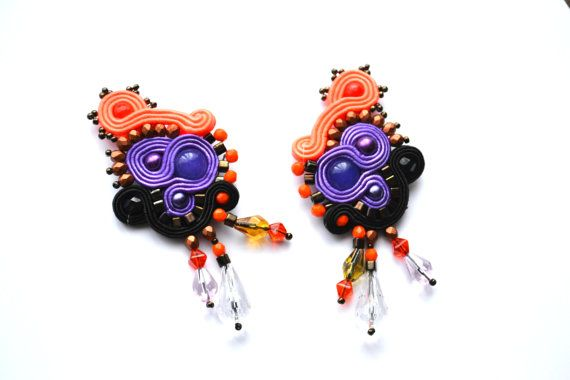 Soutache purple and orange earrings with Jades by StylazkaSoutache