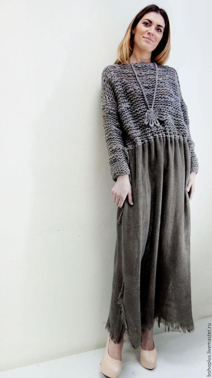 """Купить Платье в стиле бохо """"Бэлла Ч6"""" - коричневый, однотонный, теплый, теплая одежда"""
