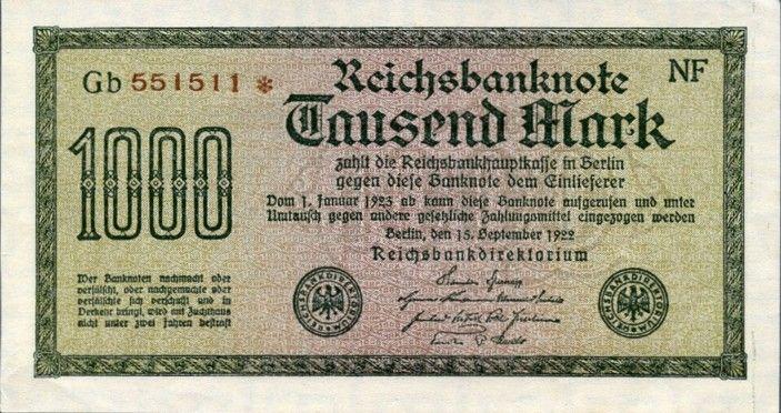 1910 den 1923'e kadar Alman Kağıt Para