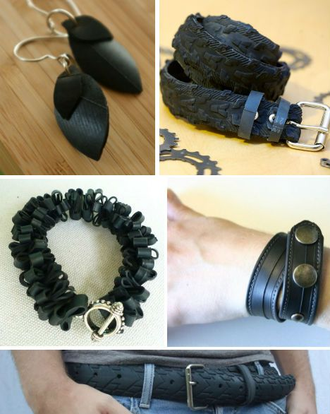 Recycled tire jewelry & belts