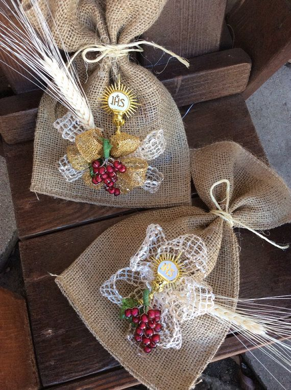 First Comunion Burlap Favor Bags Mi Primera от FantastikCreations