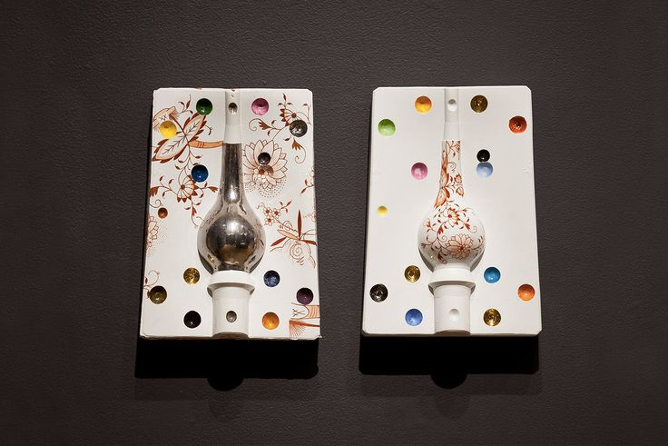 Arlene Shechet, Asian Vase Pair, 2013. Glazed Meissen porcelain, platinum, gold. 11.75 x 8.5 x 2.62 inches each.