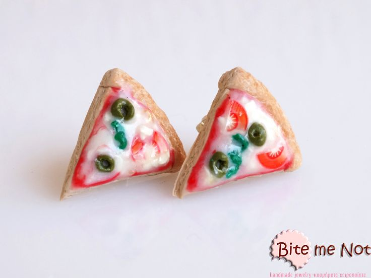 Pizza -Silver plated stud earrings with silicone stoppers!  -Yummy special pizza!