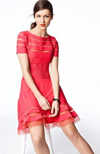Tadashi Shoji Mesh Stripe Short Sleeve Fit & Flare Dress   Nordstrom