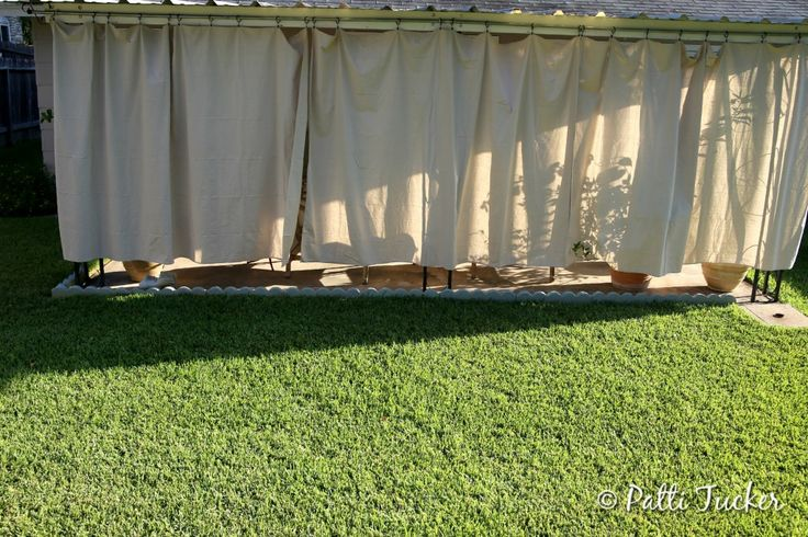 inexpensive diy outdoor patio drop cloth curtains home pinterest drop cloth curtains. Black Bedroom Furniture Sets. Home Design Ideas