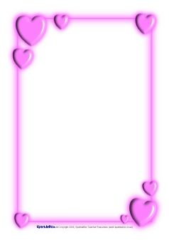 Valentine's Day A4 Page Borders (sb1186) - SparkleBox