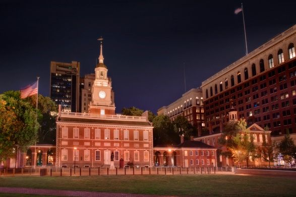 Independence Hall, where the Declaration of Independence was adopted. the American flag was agreed upon & the U.S. Constitution was drafted