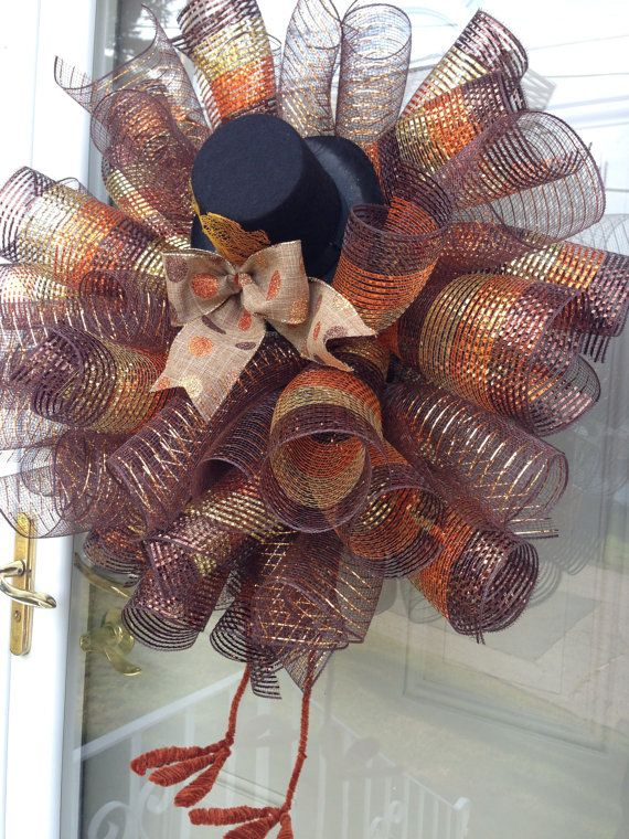 xl deco mesh fall wreath thanksgiving turkey wreath with legs and hat brown and orange autumn door wreath harvest wall decorations