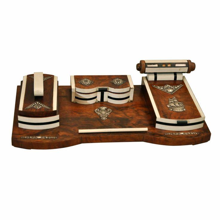 Art Deco Burled Wood Desk Set - 39 Best Art Deco Desk Sets And Objects Images On Pinterest Books
