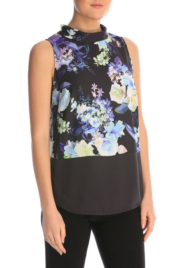 Tokito: roll neck soft top (floral).