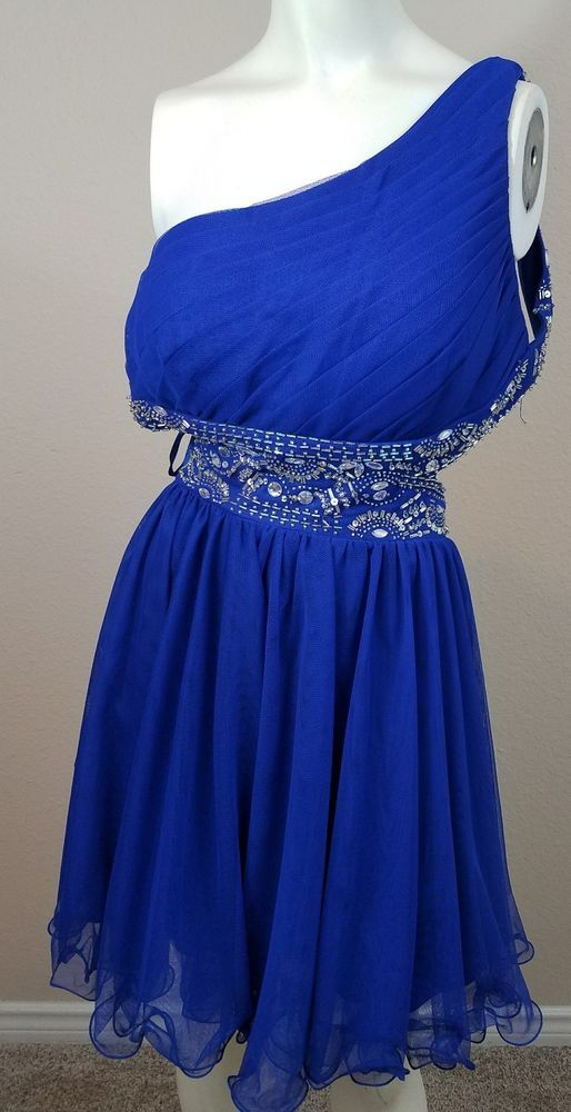 Blue homecoming / prom dress sz 13 #backless #oneshoulderstrap