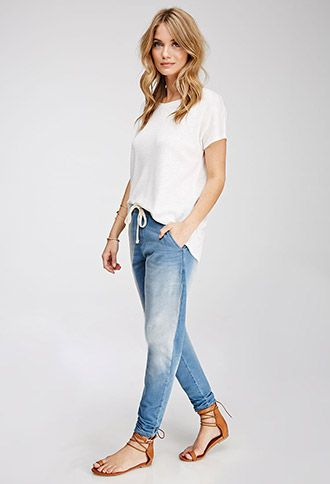 These def. don't look this cute on me as they do on her  - however they are PERFECT for working in the garden.  Stretch Denim Joggers | Forever 21 - 2000135535