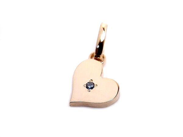 AMBRACE blue diamond K18 pink gold heart pendant ピンクゴールド ペンダント チャーム ネックレス ハート ブルーダイヤ
