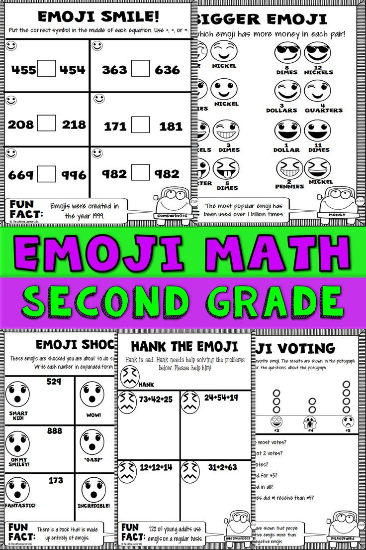 Second Grade Math Is More Fun With Emojis This Emoji Packet Filed