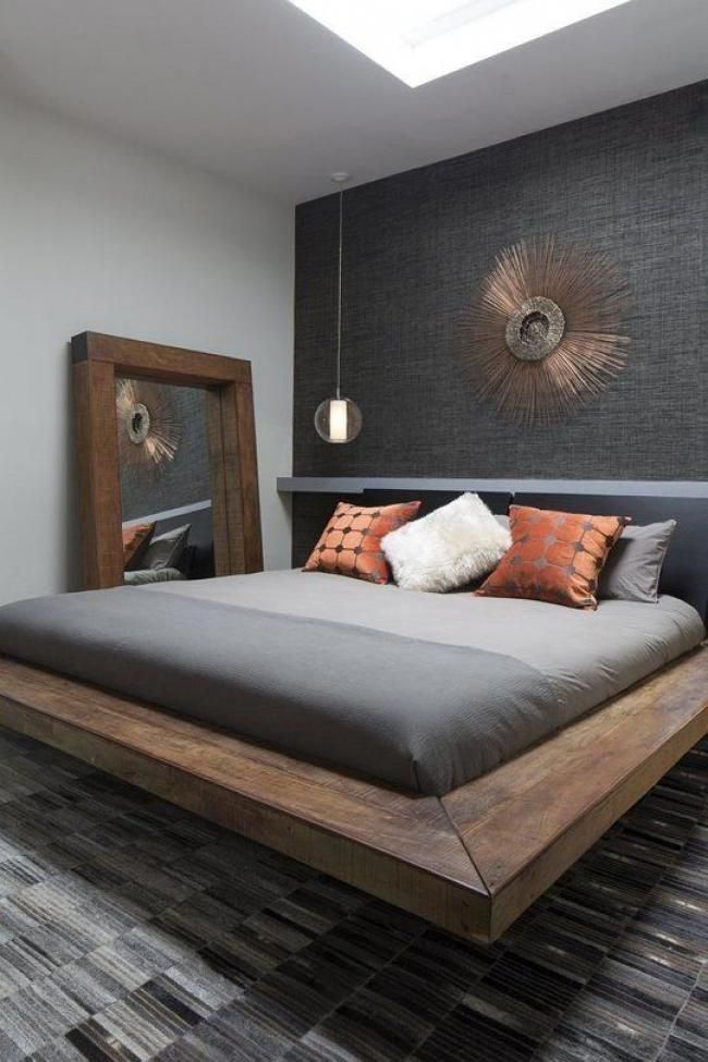 Cool Masculine Bedroom For Mens Floating Bedroom Gray Colors
