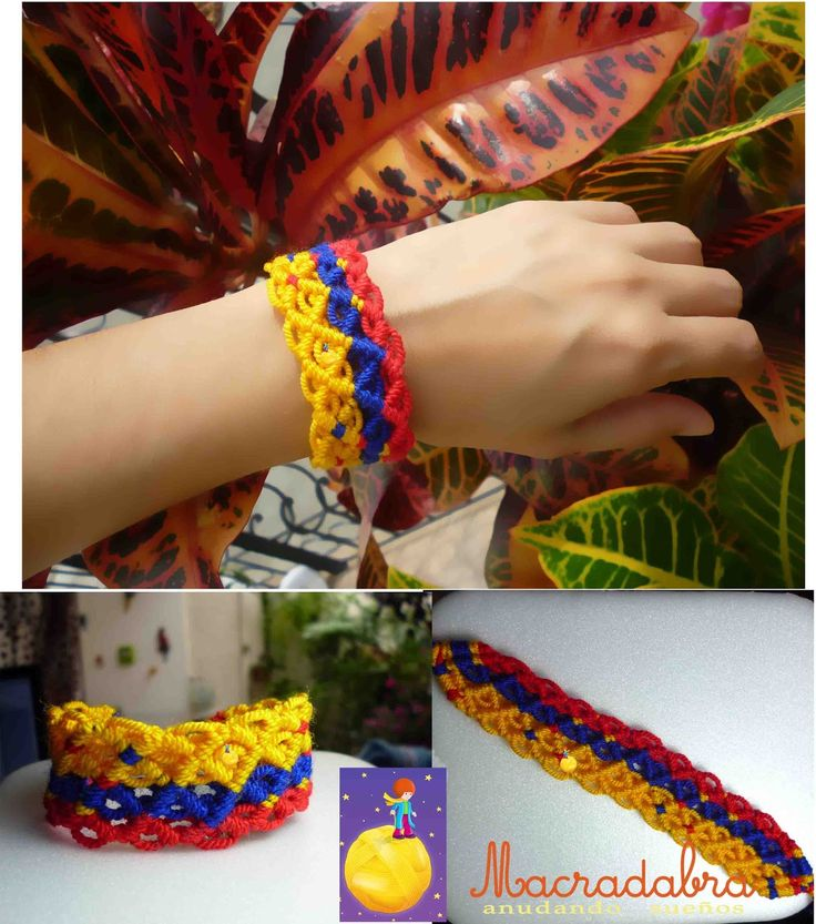 Rombos tricolores Pulsera #macrame #Colombia