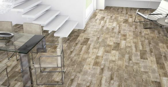 Movila wood effect tile flooring is available in a lovely natural shades of brown and beige that's perfect for getting that airy and light New England style look.