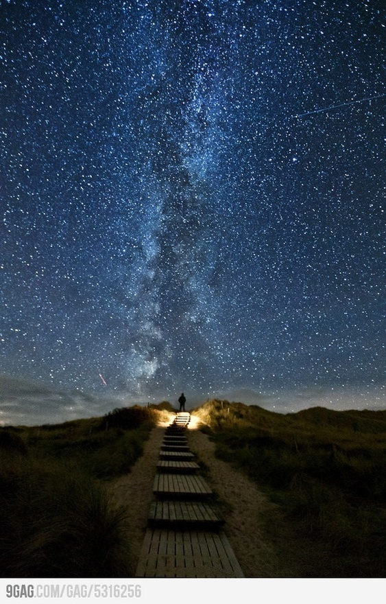 Heavens Trail in Ireland, the stars line up with the path