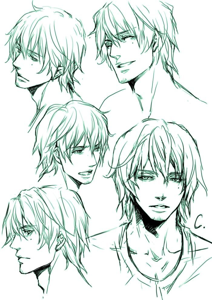 hair drawing reference male - Google Search