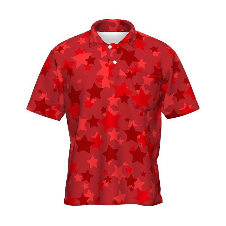 スターをちりばめたグラフィックポロシャツです。/レッドスター Tシャツ - 7th Spirits