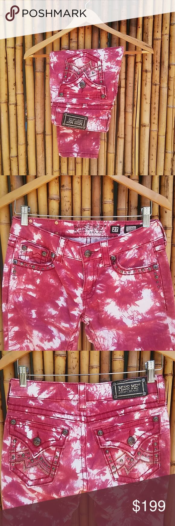 MISS ME • Red&White Skinny Jeans! 💗HP💗 Take your jeans to a new level with these Miss Me Brand red tie dyed skinnies! They also have the most wanted flap pocket at rear as well as studded pocket trim! Go ahead make a statement and stand out in the crowd!   🚫No Trades🙄😘  ✔PRICE IS FIRM😗 🔘Please Ask ❓'s BEFORE you Buy🤔😃 💕Thank you for stopping by! Happy Poshing!💕 Miss Me Jeans Skinny