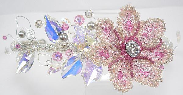 Tiara Online, Handmade Beaded Flower Tiaras - Briony Flower Tiara