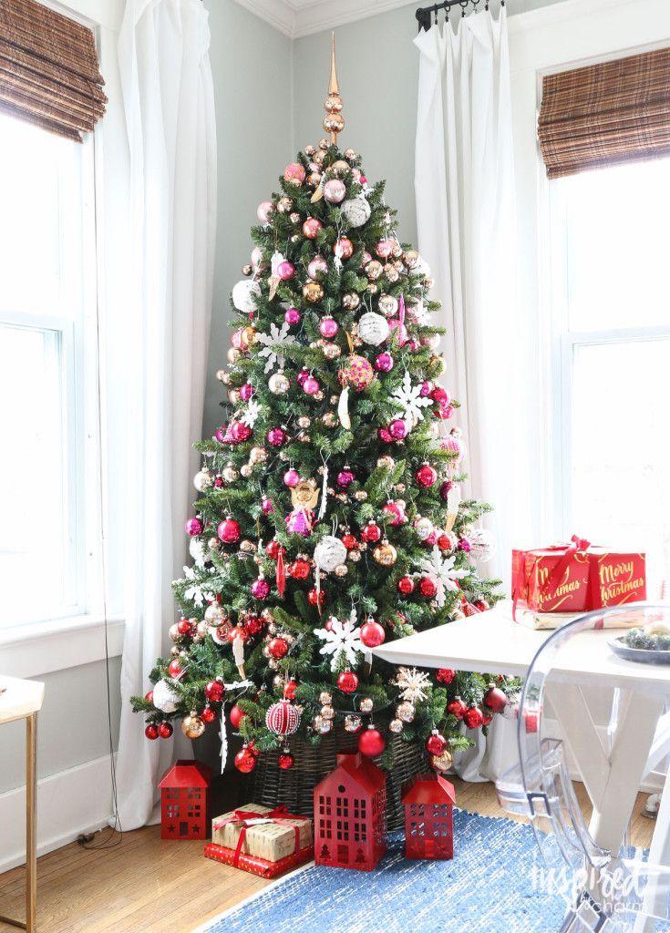 Pink And Red Christmas Tree Decor Christmas Christmastree Decorations Red Christmas Tree Unique Christmas Trees Elegant Christmas Trees