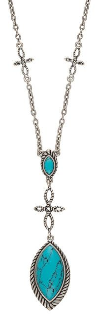 (MSNC2179R47) Western Blue Marquis & Looped Cross Necklace by Wrangler