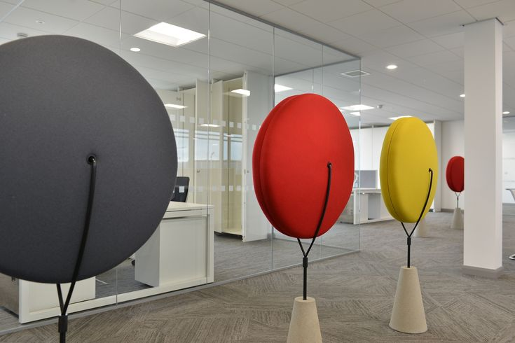 The client brief for this new build commercial project was for a design with clean lines to reflect the medical nature of the business. Staff health and wellbeing was also a key requirement. These coloured lollipops add vibrancy to the open plan offices whilst also having the practical purpose of absorbing sound