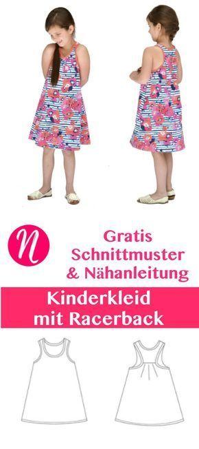 Freebook - Kinderkleid mit Racerback. PDF-Schnittmuster zum Ausdrucken. Gr. 74 - 140 ❤️ Nähtalente - Magazin für kostenlose Schnittmuster ❤️ Free sewing pattern for a nice girls dress with racerback. Size 1 - 8 years.