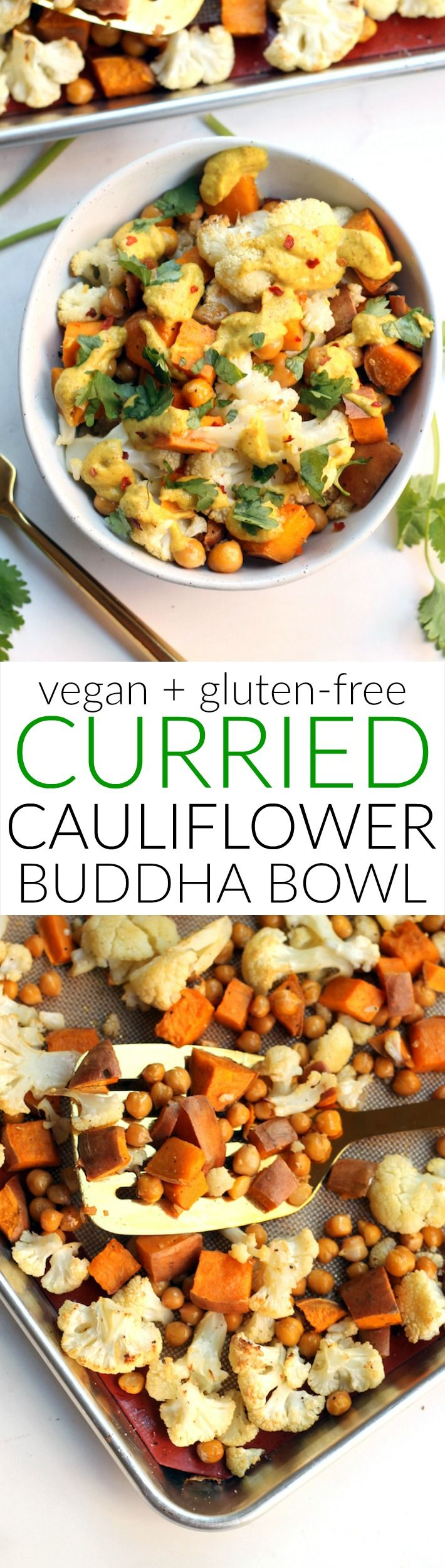 This one pan Curried Cauliflower Chickpea Buddha Bowl is an easy and delicious vegetarian meal that's perfect for work week lunches! Vegan and gluten-free.